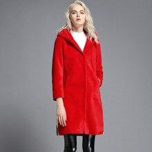 Black White Striped Coat Women's Genuine Wool Fur Clothing Winter Long Coat Jacket Outwear Real Furs Hooded Coat Female 16060