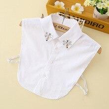 Перламутровая ручная работа Поддельный Воротник белая винтажная рубашка для женщин