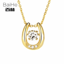 BAIHE Solid 14K Yellow Gold 0.05ct Certified H/SI Genuine Natural Diamonds Women Trendy Fine Jewelry Elegant unique Necklaces