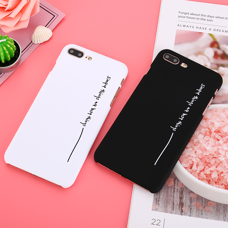 Black White Couples Phone Cases For iphone 7 Case Anti-Shock English Letters plastic phone case For iphone 7 Plus 6 6S 8 Plus X