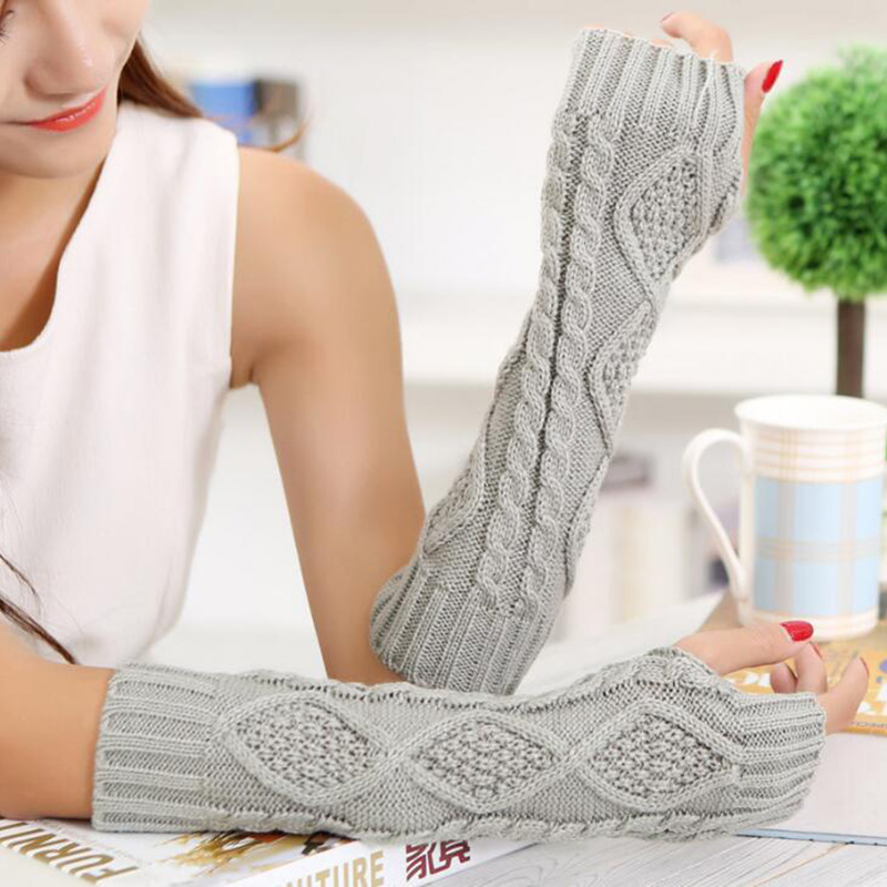 Long Section 30cm Autumn Winter Ladies Wool Knitting Rhombic Fingerless Sleeve Women Half Finger Warm Exposed Fingers Gloves L89