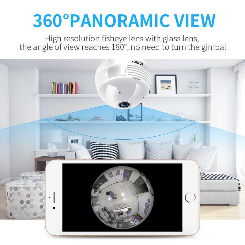 FREDI Led Light Wireless IP Camera WiFi Bulb Lamp 960P Panoramic FishEye Home Security CCTV Camera 360 Degree View Angle Camera
