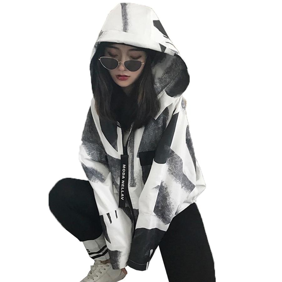 Manteau Lâche Femmes Courte Bolero Printemps Vestes 50e33 Hop Casual Harajuku Streetwear Hoodies Coréenne Veste Manteaux Hip White ngrrx5qwI