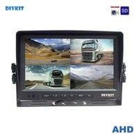 DIYKIT AHD 4PIN 9 дюймов 4 разделение Quad ЖК дисплей экран заднего вида Мониторы поддержка 1080 P AHD камера с SD слот для карт видео запись