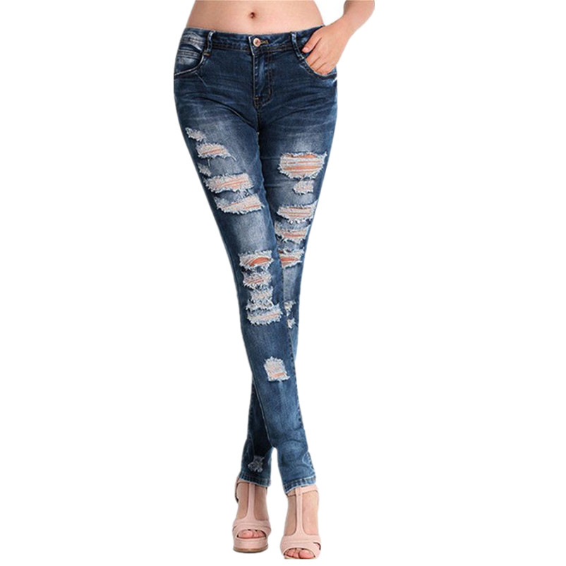 Vintage Ripped Hole Distressed Slim Denim Pants Women Casual Girls Washed Long Jeans Retro Skinny Pencil Trousers Lady Dec30
