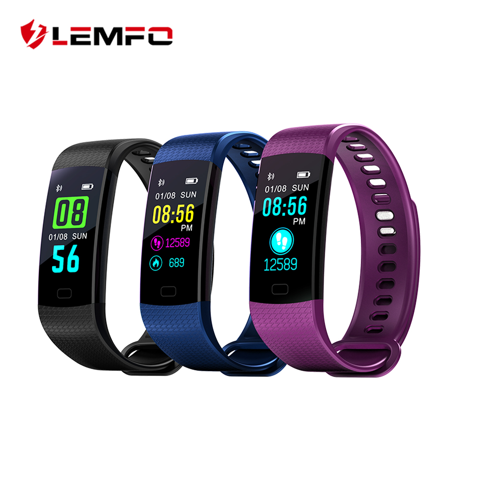 LEMFO IPS Color Screen Sport Fitness Bracelet Support Pedometer Heart Rate Monitor Blood Presure Blood Oxygen PK Mi Band 3
