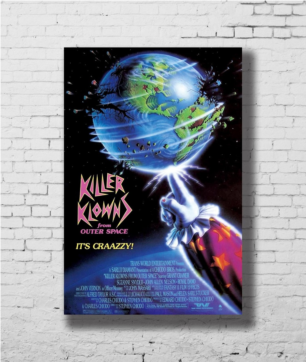KILLER KLOWNS FROM OUTER SPACE Movie Horror Comedy Wall Sticker Home Decoration Silk Art Poster image