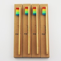 8 Piece Three Color Bristle Bamboo Toothbrush Wood toothbrush Novelty Bamboo soft-bristle Capitellum Bamboo Fibre Wooden Handle