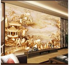 Custom photo wallpaper for walls 3 d murals wallpaper mural Chinese carved landscape scenery TV background wall paper home decor forest wallpaper for walls custom modern 3 d photo wallpaper 3 d living bedroom sofa tv background garden wall murals home decor