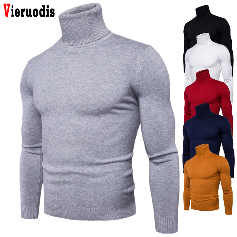 Spring Autumn New Men Knitwear Men Clothing 3XL Solid Colors Pull Homme Turtleneck Sweater Dress High Elasticity Slim Pullover
