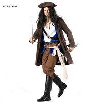 Пираты Карибского моря Cosplays Для мужчин Хэллоуин Джек Воробей карнавальные костюмы Пурим Маскарад этап игра ночной клуб праздничное платье