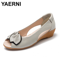 YAERNI Brand Genuine Leather Flat Rhinestone Low Wedge Heel Sandals Women Summer Peep Toe Non Slip