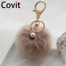 Covit Super Fluffy Fur Ball Key Chain Rings Cute Pompom Women Keychain Car Pendant Ornaments Bag Accessories Christmas gift(China)