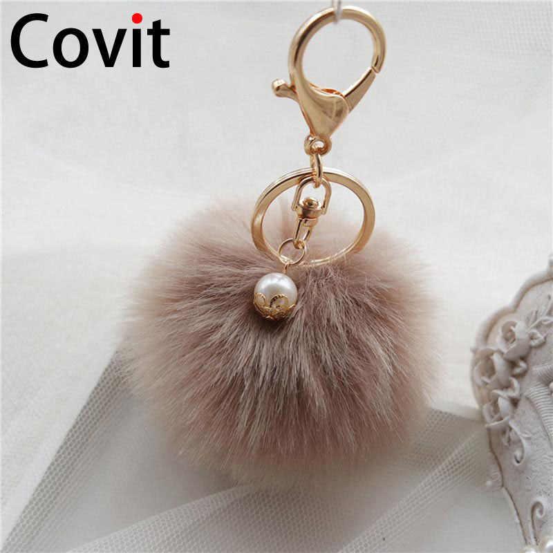 Covit Super mullido piel bola llavero anillos lindo pompón mujeres llavero coche colgante adornos bolsa accesorios regalo de Navidad