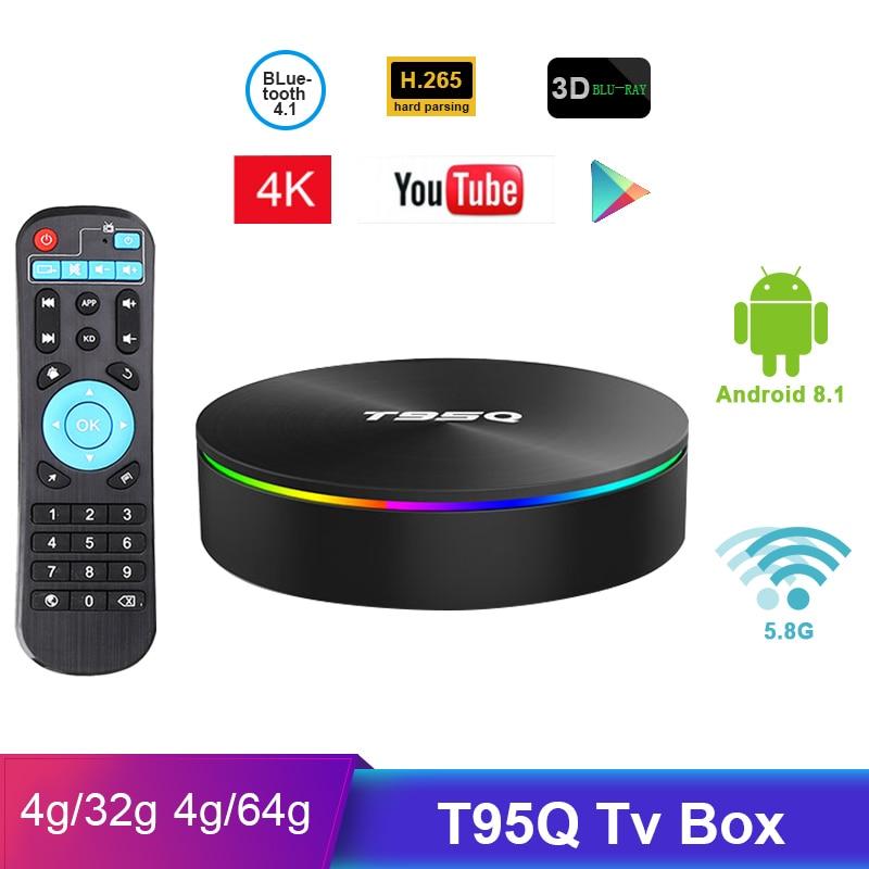 T95Q Tv Box Android 8.1 4GB 32GB 4GB64GB Amlogic S905X2 Quad Core 2.4/5.8G Wifi BT4.1 1000M 4K Media Player Smart tv box PK T9-in Set-top Boxes van Consumentenelektronica op  Groep 1