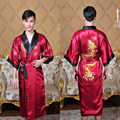 Black/BurgudyReversible Two-Face New Chinese Men's Silk Satin Robe Embroider Dragon Kimono Bathrobe Gown Sleepwear One Size 1307