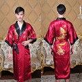 Preto/BurgudyReversible Two-Face Novos homens Chineses de Cetim De Seda Borde Dragão Kimono Robe Roupão de Banho Pijamas Vestido Um tamanho 1307