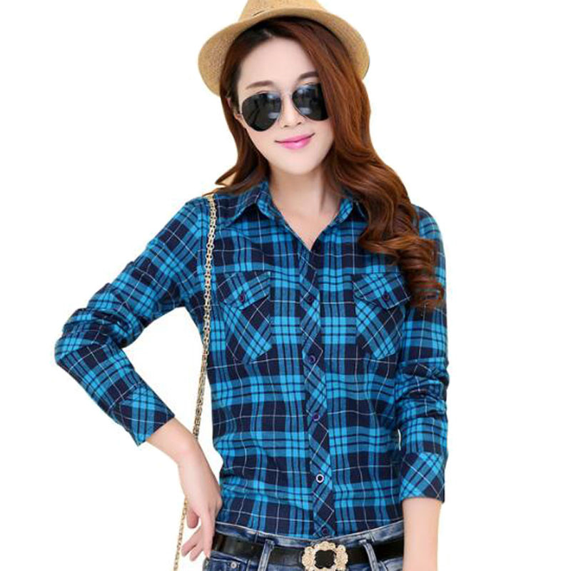2017 autumn new arrival flannel plaid shirt women casual for Girl in flannel shirt