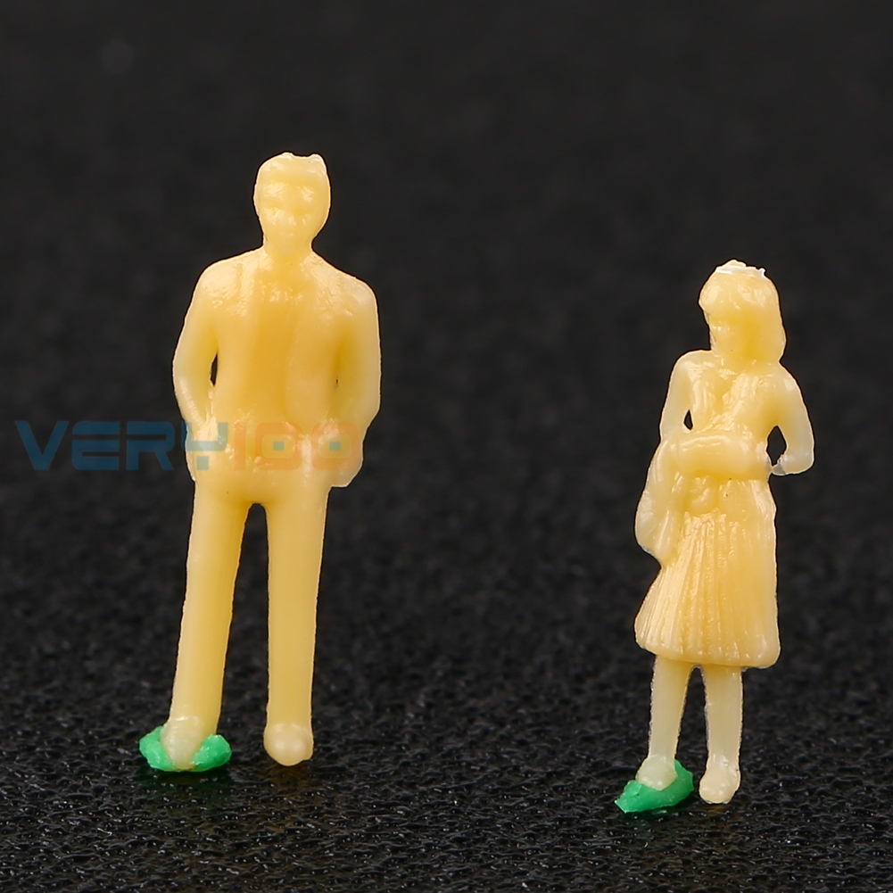 U.TECH 100PCS 1:100 HO Scale Model Mix People Figure Unpainted Train Railway Figures Free Shipping