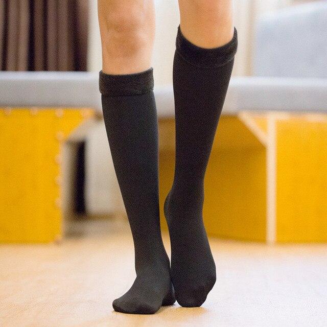 KingDeng garder au chaud longue peluche hiver femmes chaussette couleur unie kaki noir Harajuku Simple Moomin Style japonais Design de mode