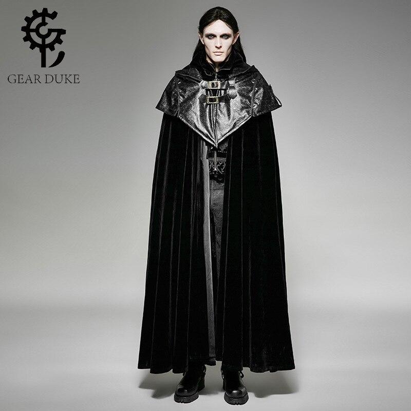 Punk Gothic Halloween Dark Vampire Count Bat Cape Loose Sleeveless Overcoats Steampunk Black Men Hoodie Cape Long Cloak Coats