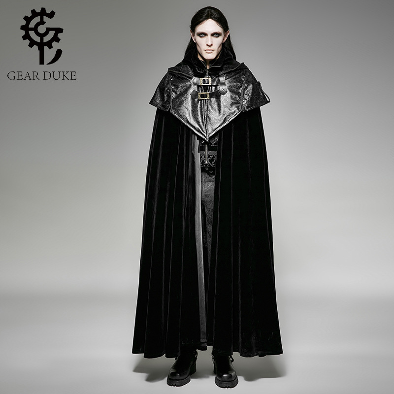 Punk gothique Halloween sombre Vampire comte chauve-souris Cape lâche sans manches pardessus Steampunk noir hommes capuche Cape longue manteau manteaux
