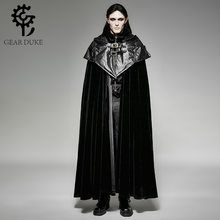 Punk Gothic Halloween Dark Vampire Count Bat Cape Loose Sleeveless Overcoats Steampunk Black Men Hoodie Cape Long Cloak Coats(China)