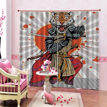 Samurai animal 3D Curtains For Living room Bed room Office Hotel Home Wall Blackout Curtains 2019
