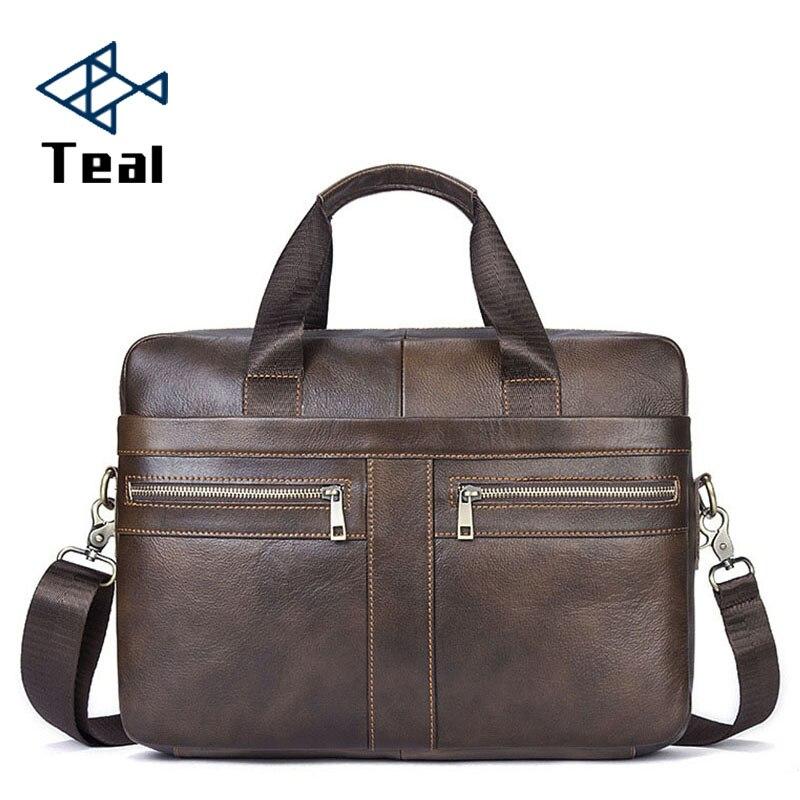 Laptop Mit Messenger black Griff 2019 Premium Leder Business Kuh 100 Männer Taschen Brown Tasche Aktentaschen Beste Handtasche B7Tq1