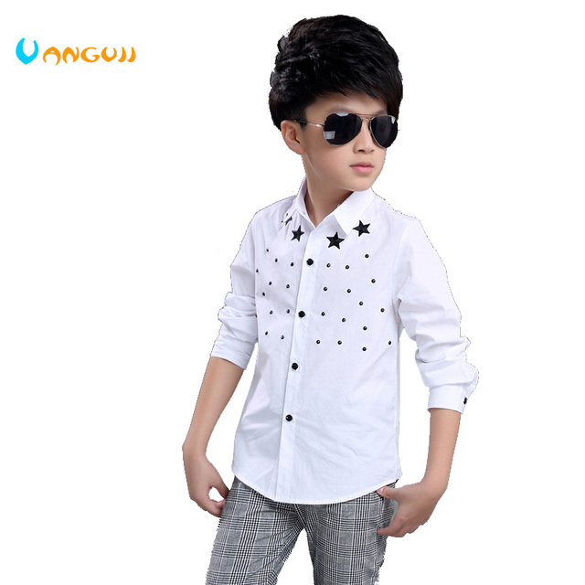 769e47f24 boys shirt 2017 Spring and Autumn Hot Fashion Children's Shirt 4 13 Year old  Print Star Dot Wild Slim Shirt handsome -in Shirts from Mother & Kids on ...