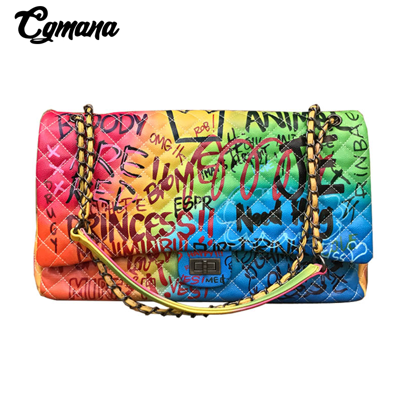 CGmana Women Bag 2018 New Color Graffiti Printed Shoulder Big Bags Fashion Large Travel Bags Women Brand Luxury Chain Handbags pocket