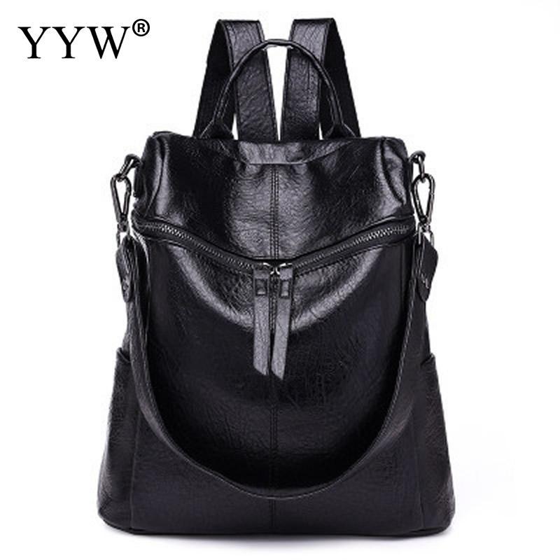 Women Rucksack Backpack-Bags School-Bag Teenager Black Waterproof Fashion PU Casual Brown