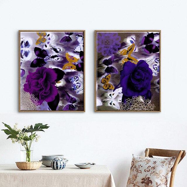 2 Stück Vintage Style Lila Blumen Und Schmetterling Malerei  Segeltuchkunstausgangsdekor Bilder Für Wohnzimmer Unframed