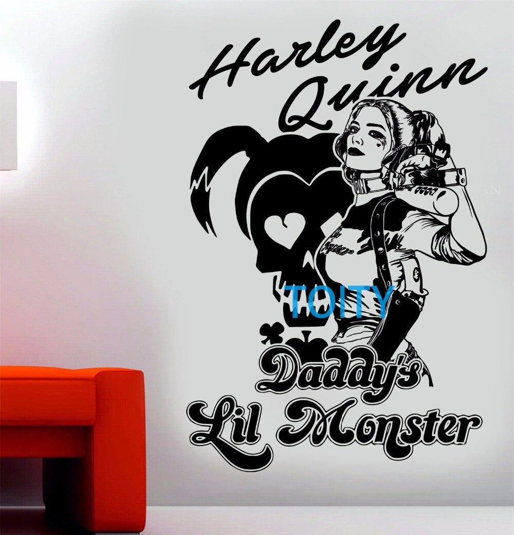 Harley Quinn decalque de pared suicide squad vinilo daddys Lil Monster Movie poster Art decoración mural H87cm x W58cm