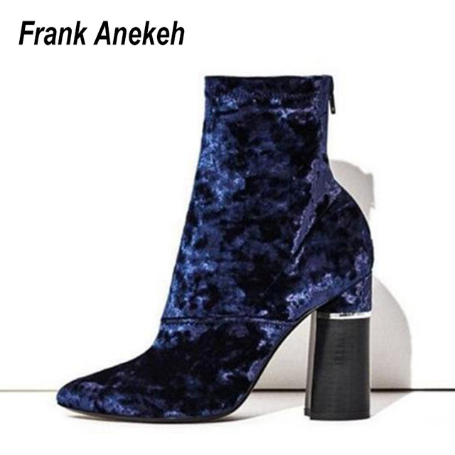 New Mujer Velvet Stiletto Heel Pointed Toe Velvet Mujer Zip Back Short Ankle Zapatos botas fb9530