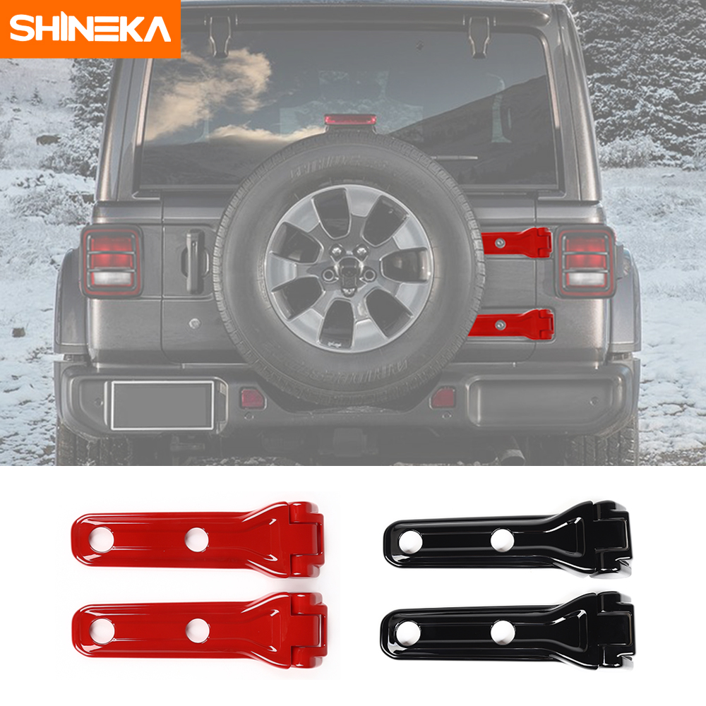 SHINEKA Car Exterior Accessories Spare Tire Tailgate Hinge Cover Trim Decoration For Jeep Wrangler 2018 JL