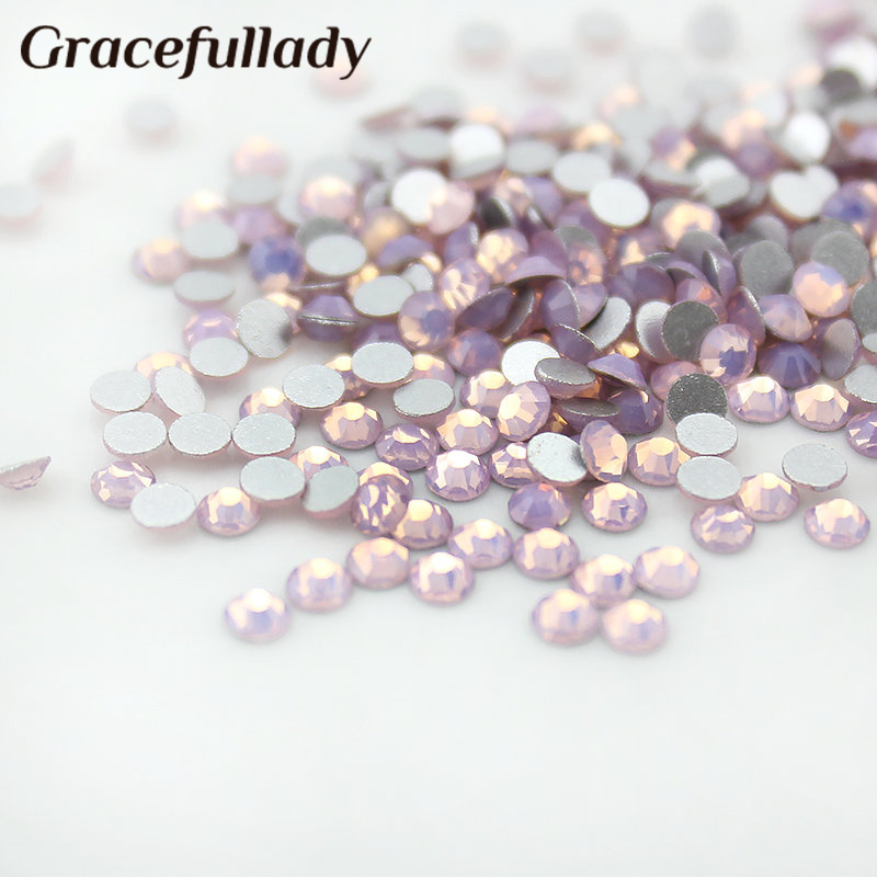 Pink Opal 1440pcs/pack ss3-ss12 (1.3-3.2mm) Non Hotfix rhinestone for nails Flat Back Nail Art decorations crystal Glue On stone