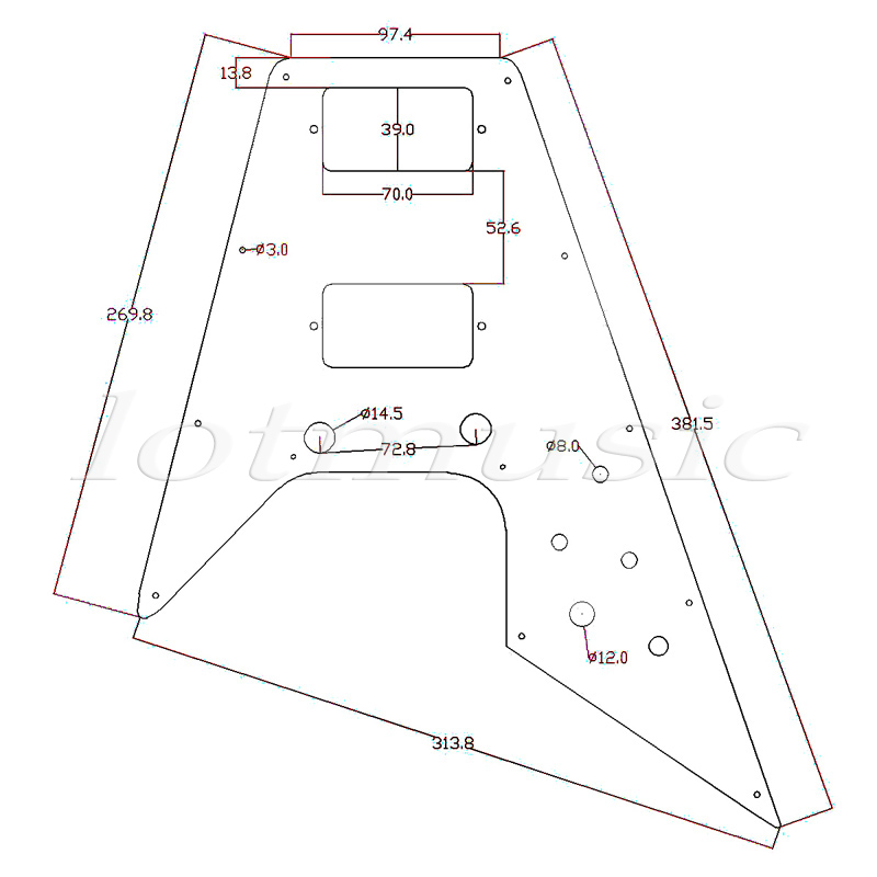 Yamaha Pacifica 112v Wiring Diagram Fiat Doblo Basic 2 Pcs Guitar Pickguard For 67 Reissue Series Electric Flying V Replacement White Pearl