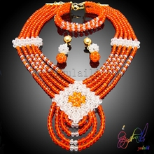 Free Shipping Hand made Unique jewelry sets African Crystal Beads Jewelry Sets for Nigerian Wedding