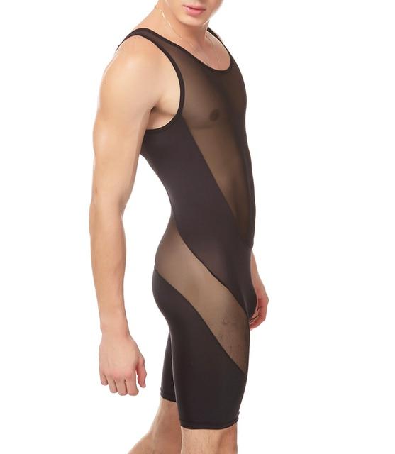 Men Sexy Transparent Vest Mesh Gauze Suspender Wrestling Singlet Men Sexy Pajamas M L XL Free Shipping