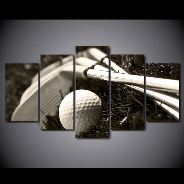 5 unids/set HD impreso Palos de golf y bola pared cartel cuadro ...