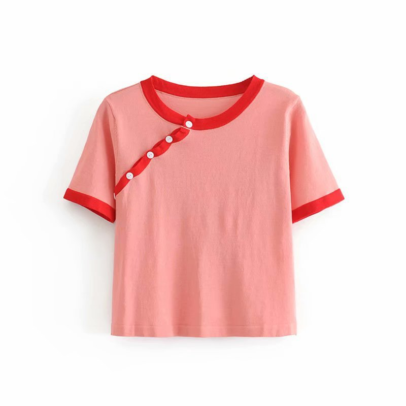 popular new 35-7346 European and American fashion clothing van button color T-shirt