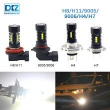 DXZ 1X Car led Fog Lamp H4 H7 H8 H11 HB3 9005 HB4 9006 canbus 12v daytime running light Car Turning Parking Bulb White DRL 6000K цена 2017