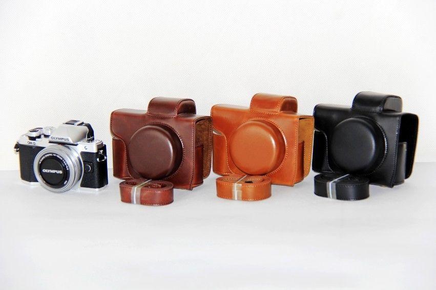 цена на Pu Leather Camera Case For Olympus OM-D E-M10 Mark III EM10III EM10 III short lens 14-42mm Lens Camera Bag Cover With Strap