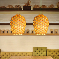 Nordic Chiba Pineal pendant lamp ceiling Simple Wood chips Pine cone hanging lamp indoor Wooden modern pendant light