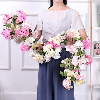 170cm Artificial cherry blossoms Rattan branches Silk liana Vines Plastic flowers on the Wall Wedding Home decor Hanging Garland plum cherry blossoms artificial silk flowers flores sakura tree branches home table living room decor diy wedding decoration 202