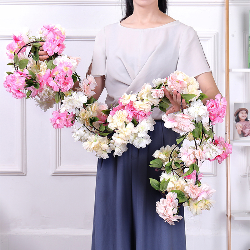 artificial cherry blossoms branches silk blossom Vine decoration Artificial flowers wedding decor wall Hanging Garlands