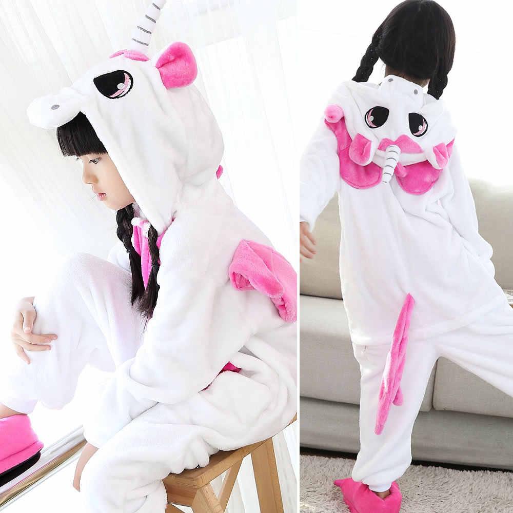 ... EOICIOI фланель животных Единорог для мальчиков пижамы для девочек с  капюшоном детская одежда для сна с ... 0883513a2d4ba