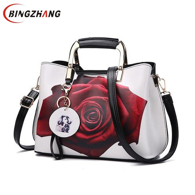 Women Handbag Fashion Style Female Painted Shoulder Bags Flower Pattern Messenger  Bags Leather Casual Tote Evening 7d4522887ceab