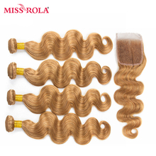 Miss Rola Hair Pre-colored Ombre Indian Body Wave Hair #27 100% Human Hair Wave 4 Bundles with Closure Hair Extensions Non Rem